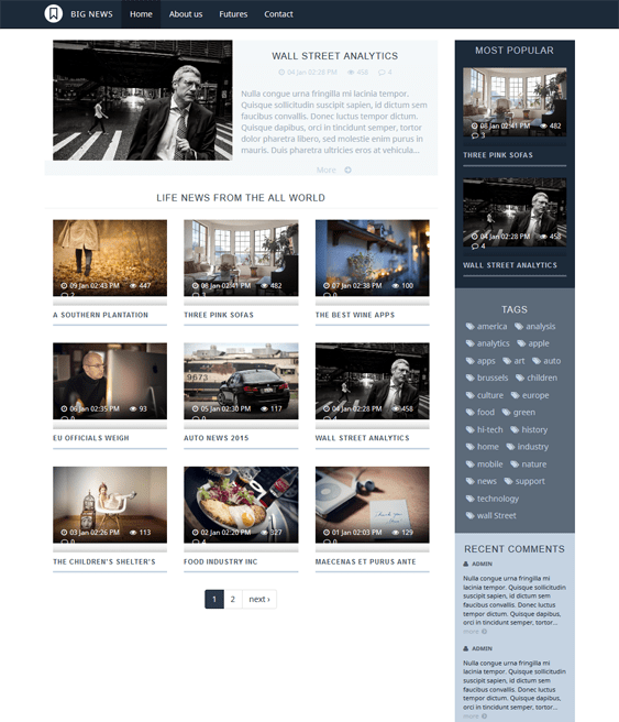 va bignews clean drupal themes
