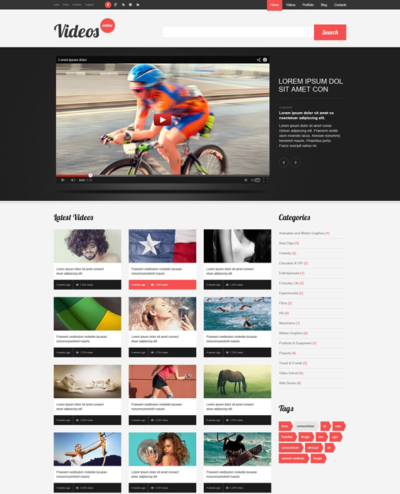 video wordpress themes content
