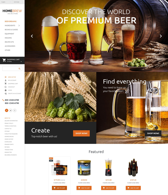 brewery food drink restaurant opencart themes