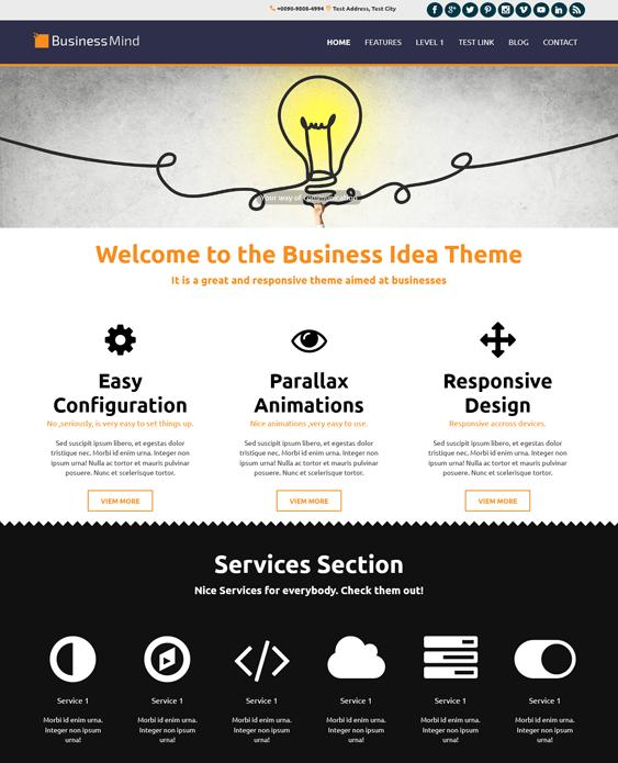 business mind parallax wordpress themes