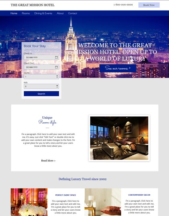 city free hotel wix templates