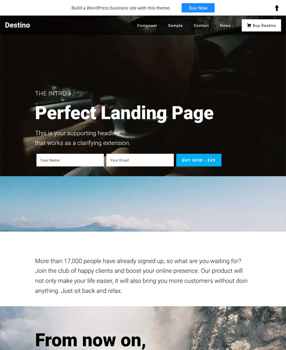 destino landing page wordpress themes