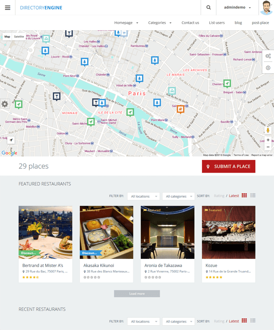 directoryengine map wordpress themes
