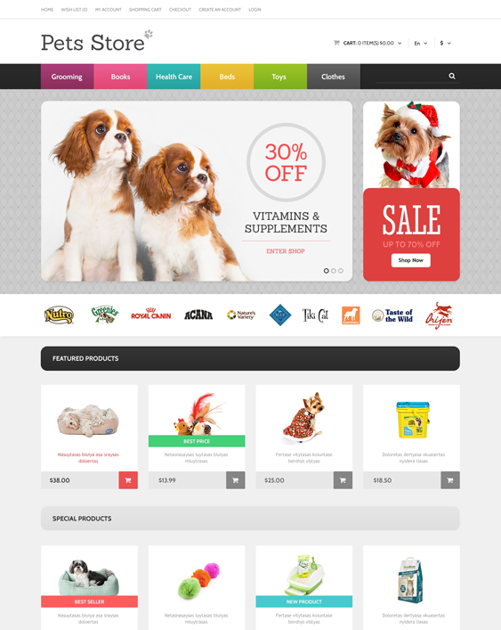 dog pet opencart themes