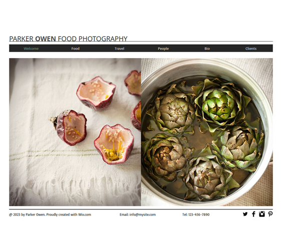 food photography portfolio wix templates