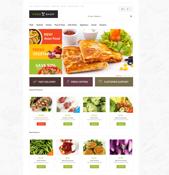 food store drink restaurant opencart themes