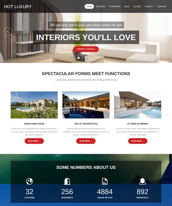hot luxury parallax joomla templates