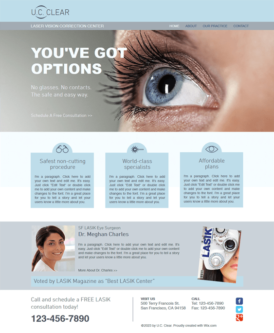 laser surgery medical wix templates