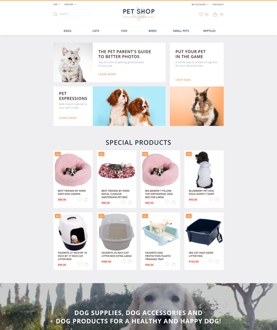 pet opencart themes shop