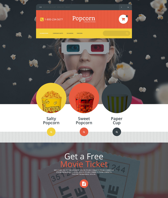popcorn food drink restaurant opencart themes
