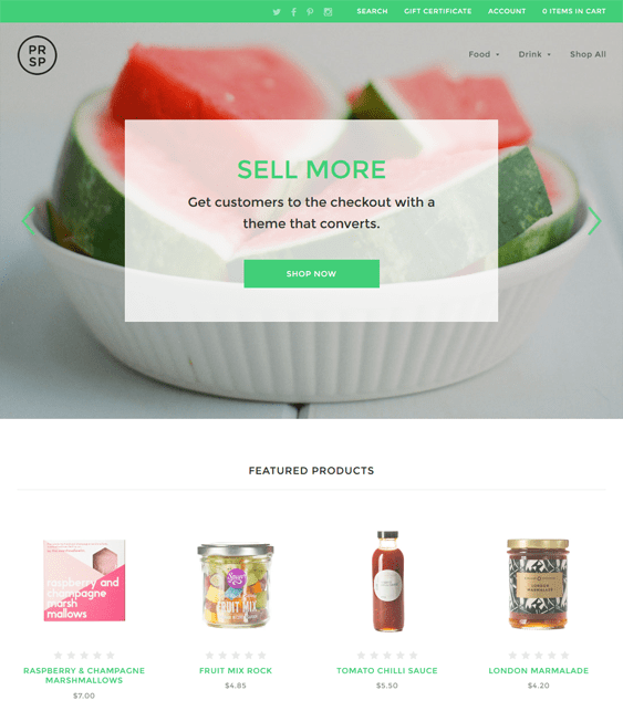 prosper food drink bicommerce themes