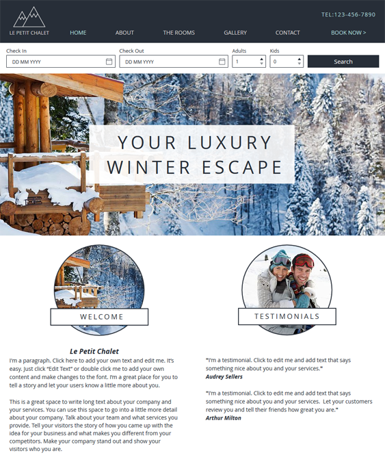ski chalet free hotel wix templates