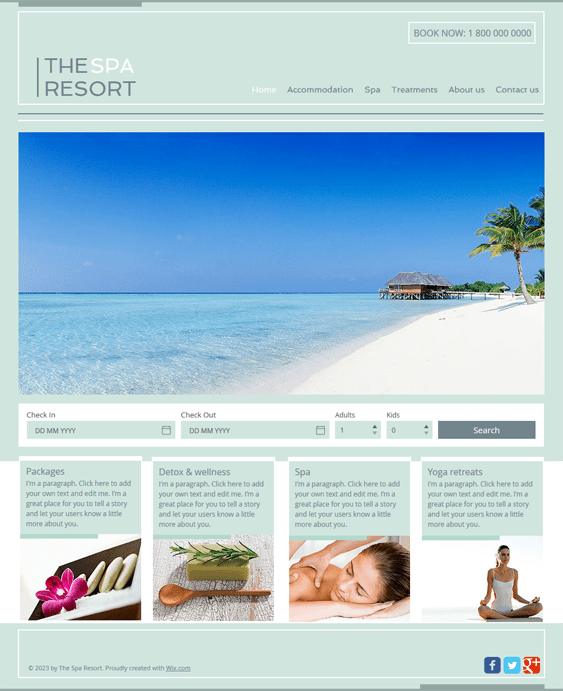 spa free hotel wix templates