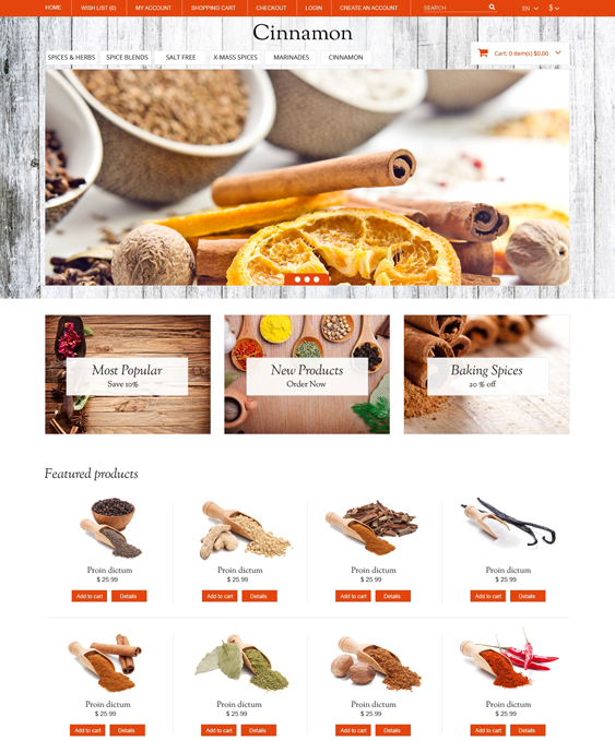 spice food drink restaurant opencart themes