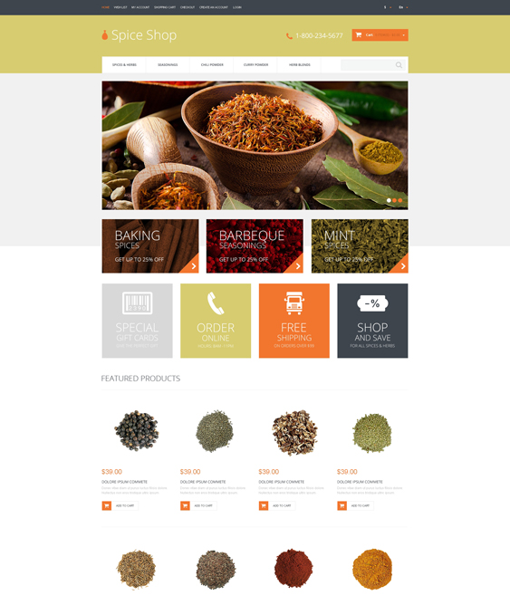 spice shop food drink restaurant opencart themes