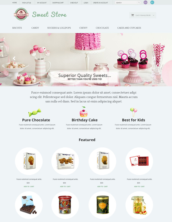 sweets food drink restaurant opencart themes