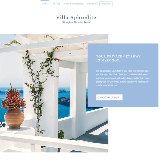 tropical villa free hotel wix templates