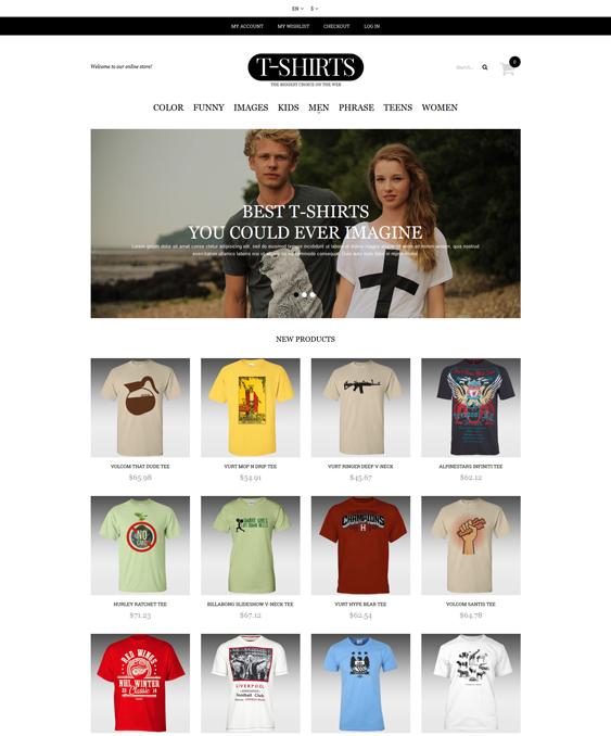 tshirt minimal magento themes