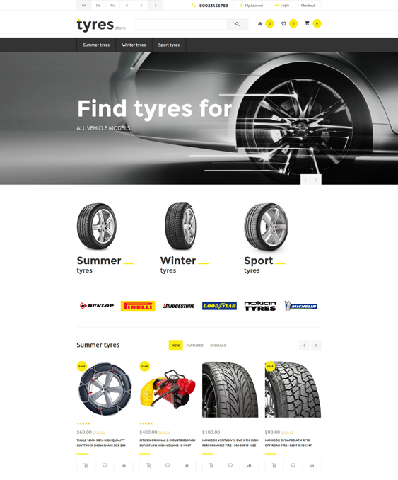 tyres minimal opencart themes