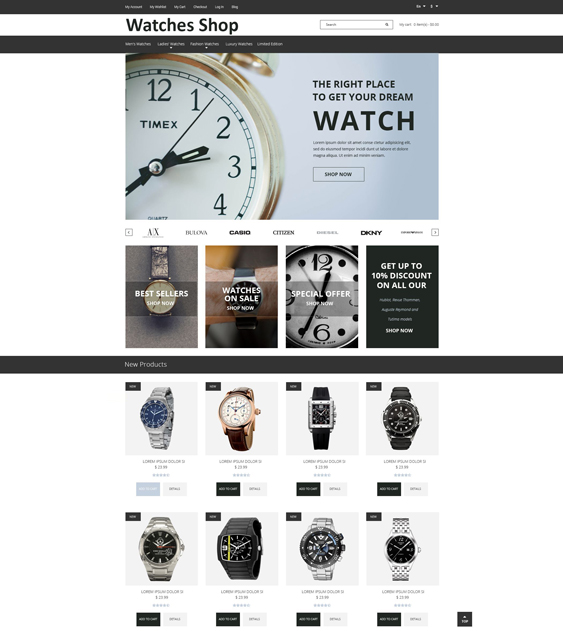 watches minimal magento themes