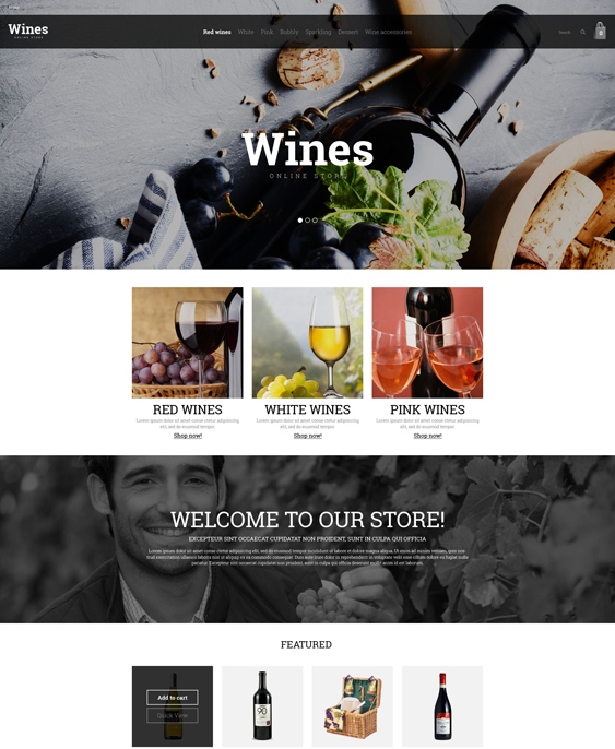 wine food drink restaurant opencart themes