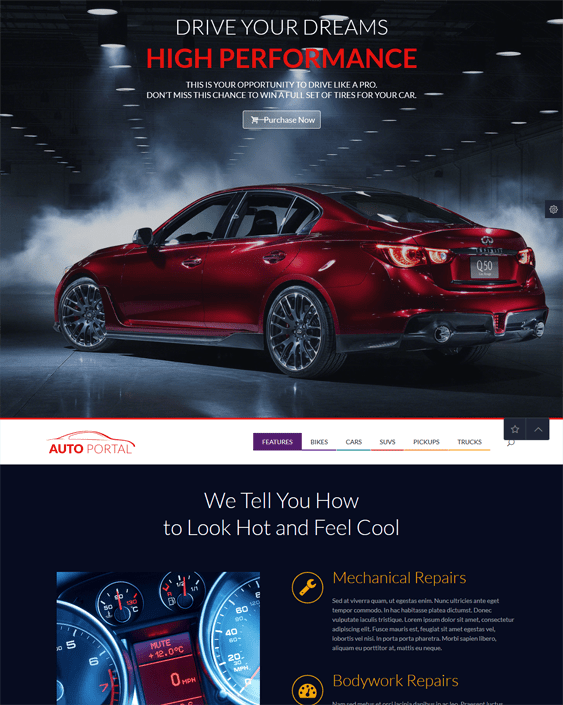 auto portal car vehicle automotive wordpress themes