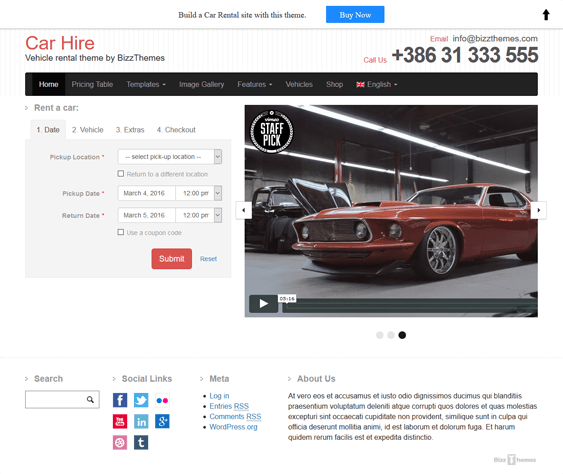 car vehicle automotive wordpress themes hire