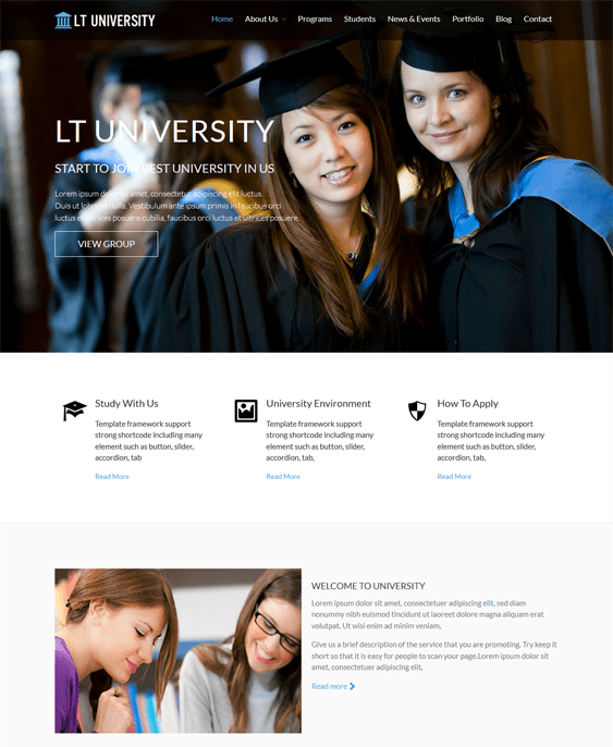 lt university education wordpress themes