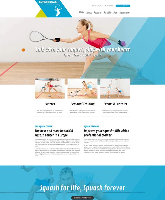 supersquash gym fitness wordpress themes