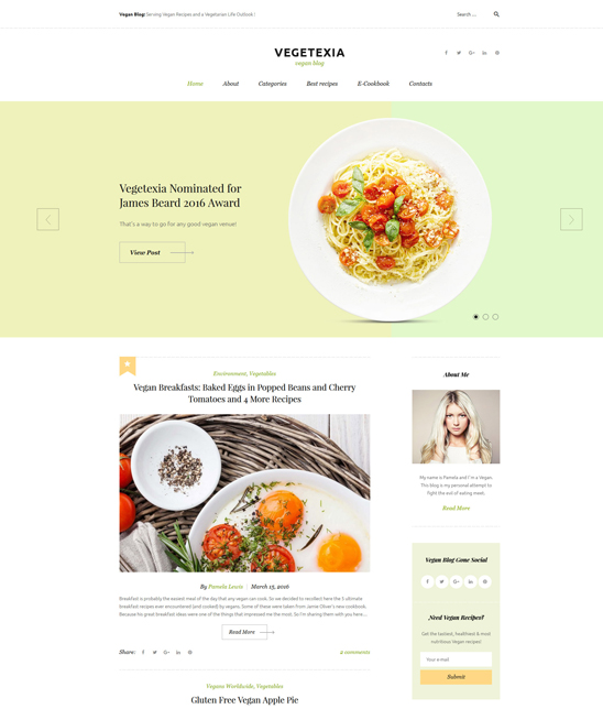 vegetexia food recipe wordpress themes