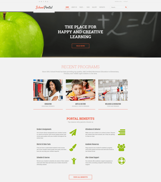 school portal kids joomla templates
