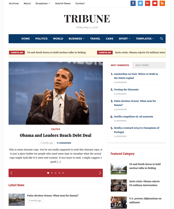 tribune magazine news wordpress themes