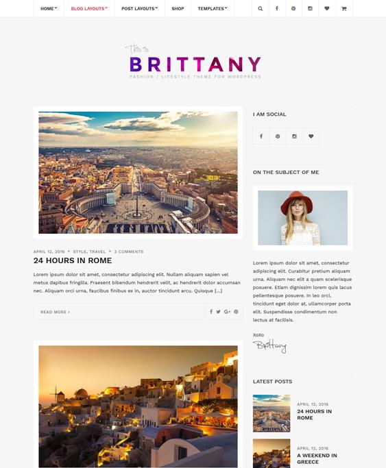 brittany fashion blog wordpress themes
