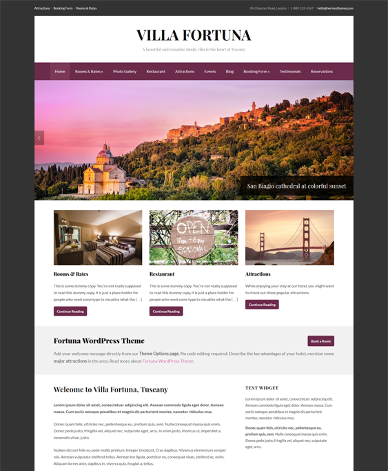 fortuna hotel wordpress themes