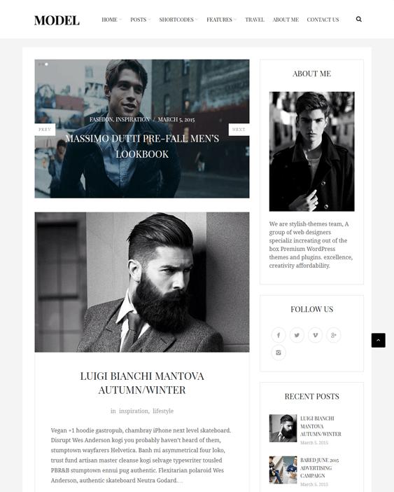 model fashion blog wordpress themes