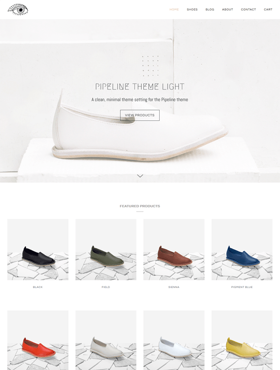 pipeline shoe store shopify themes