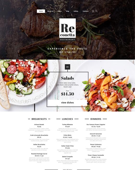reconetta italian restaurant joomla templates