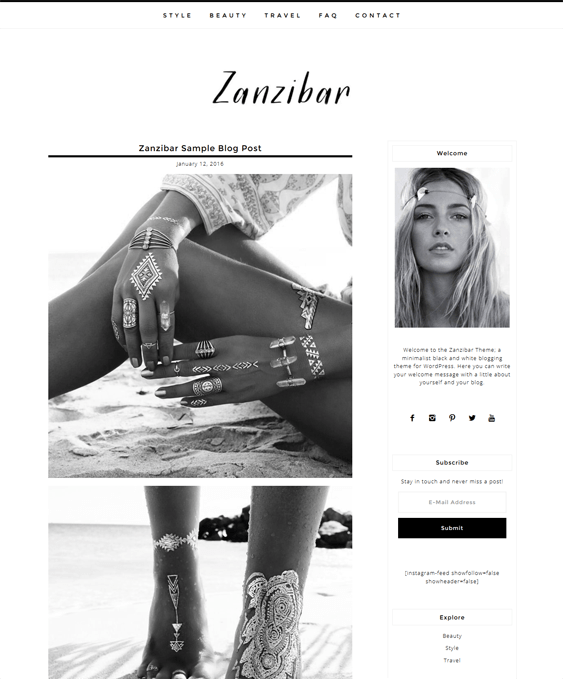 zanzibar fashion blog wordpress themes