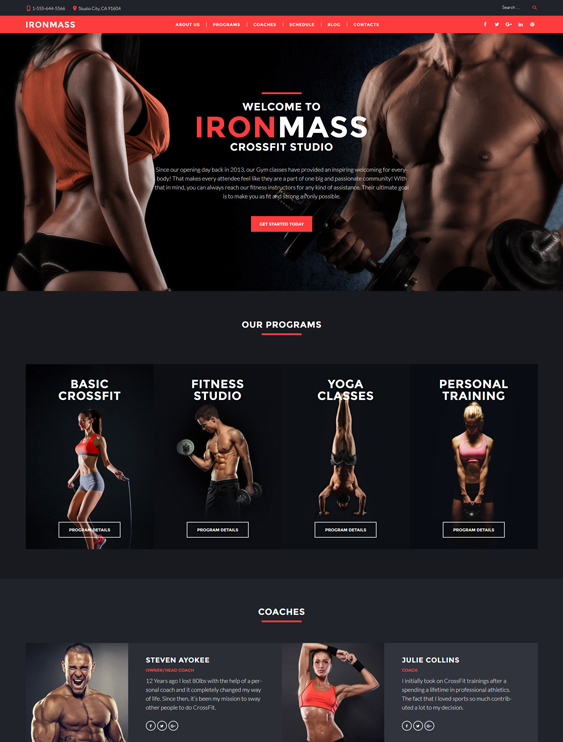 fitness dark wordpress themes