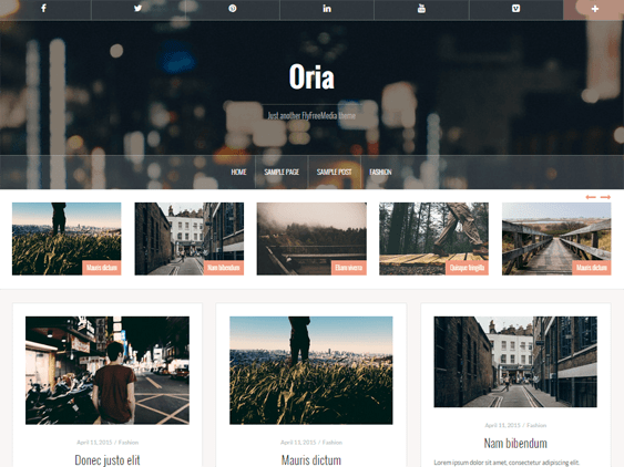 oria free parallax wordpress themes