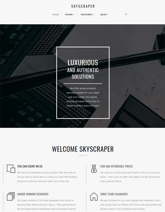 skyscraper architecture wordpress themes