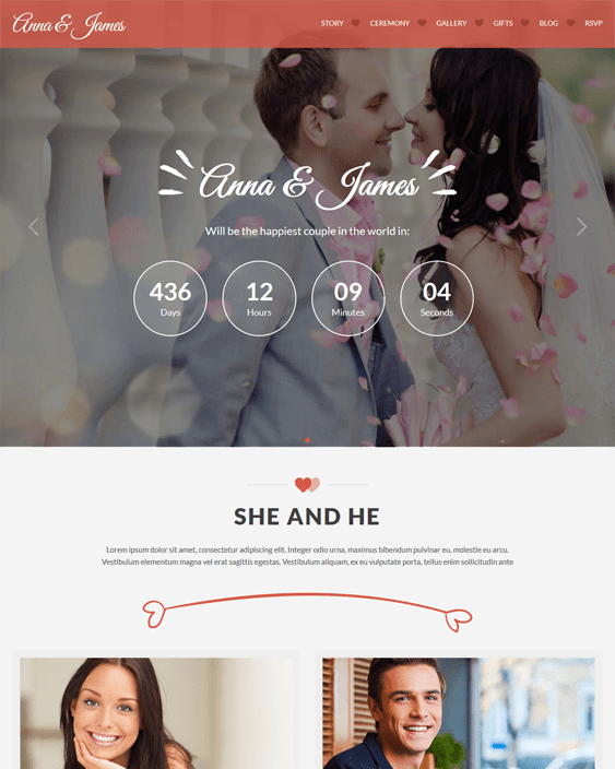 amore wedding wordpress themes