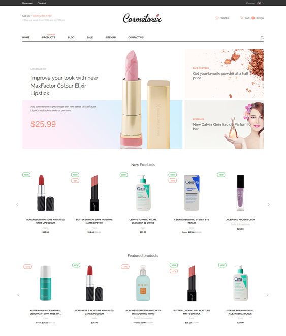 Cosmetorix cosmetics beauty products shopify themes