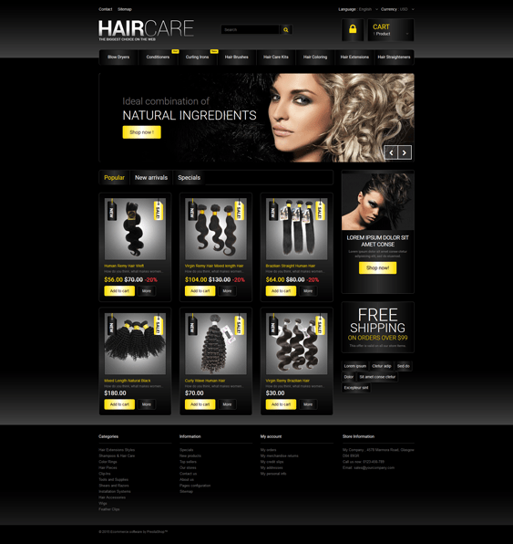 hair products prestashop themes