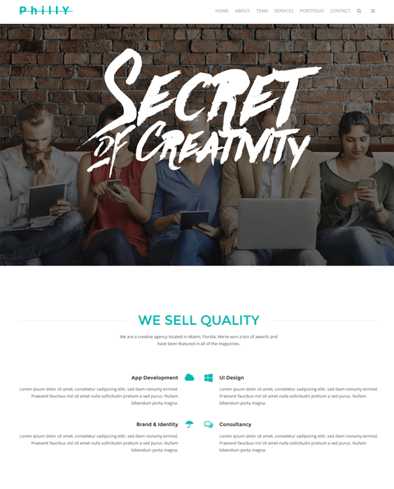 philly one page wordpress themes