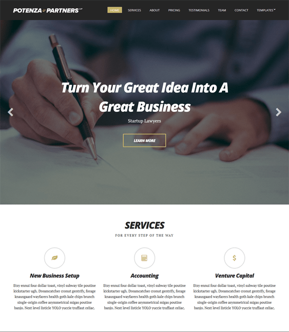 potenza one page wordpress themes
