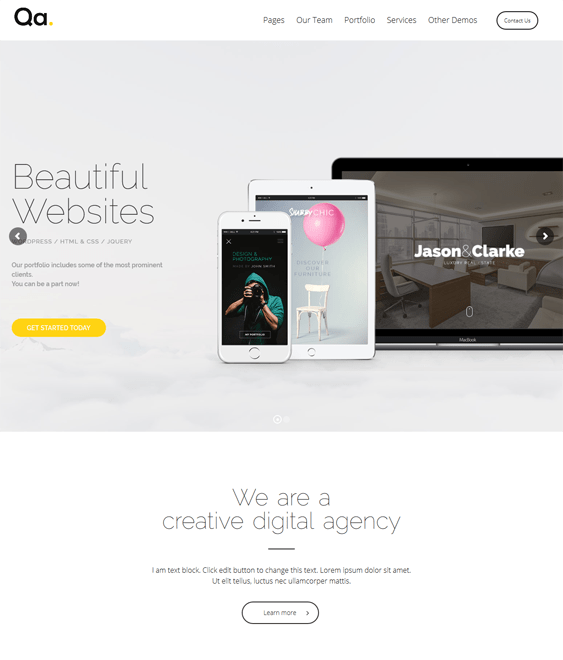 qa one page wordpress themes