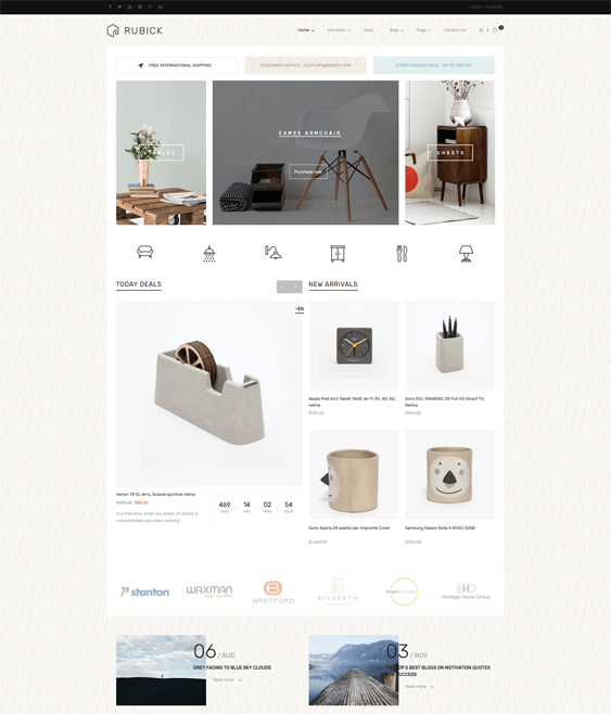 rubick furniture wordpress themes