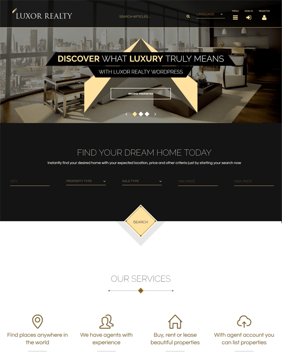 luxor real estate wordpress themes