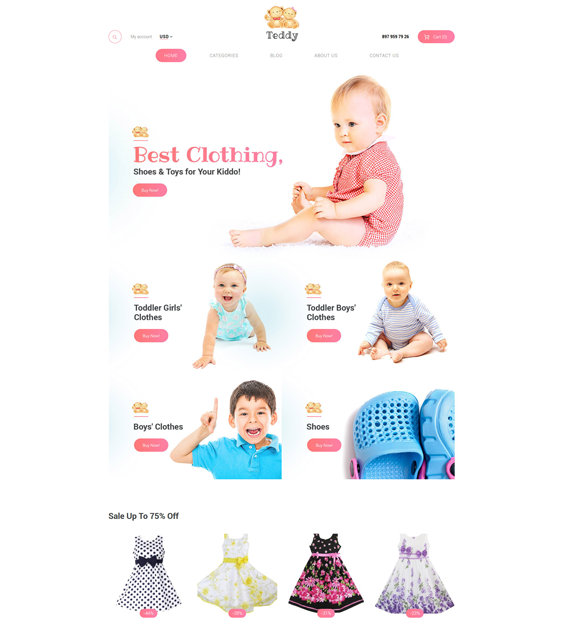 teddy kids babies children woocommerce themes
